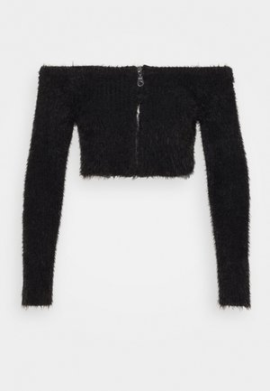 EYELASH BARDOT ZIP - Jumper - black