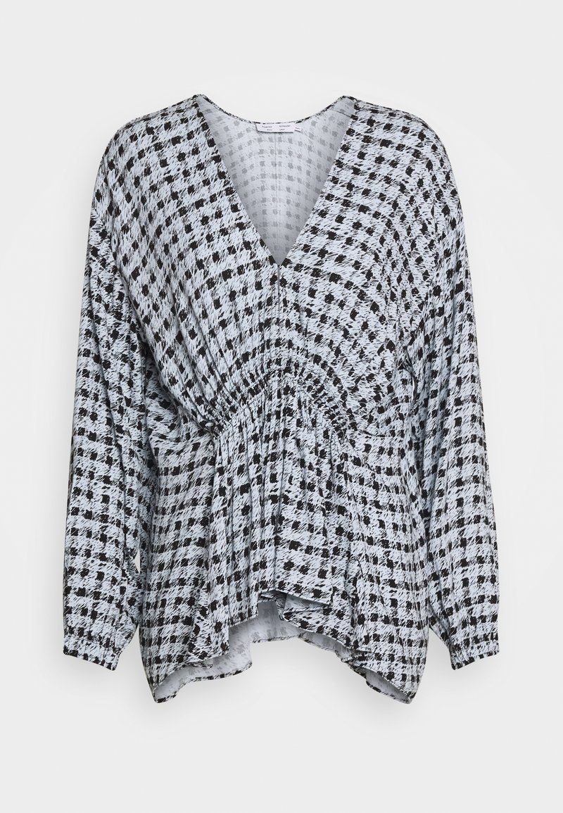 Proenza Schouler White Label - PRINTED GEORGETTE LONG SLEEVE BLOUSE - Blůza - light blue/black