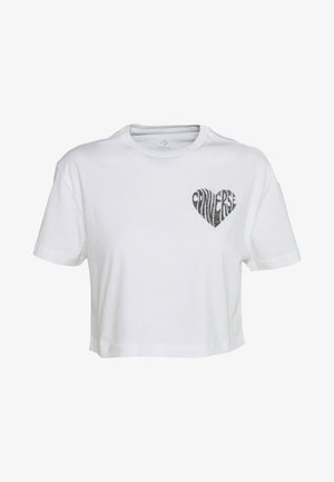 CHEST HEART CROPPED TEE - Printtipaita - white
