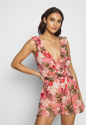 TROPICAL RUFFLE WRAP PLAYSUIT - Strandaccessories - coral