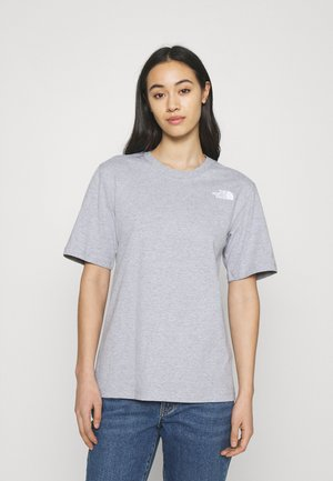 REDBOX TEE - T-shirt med print - light grey heather/red