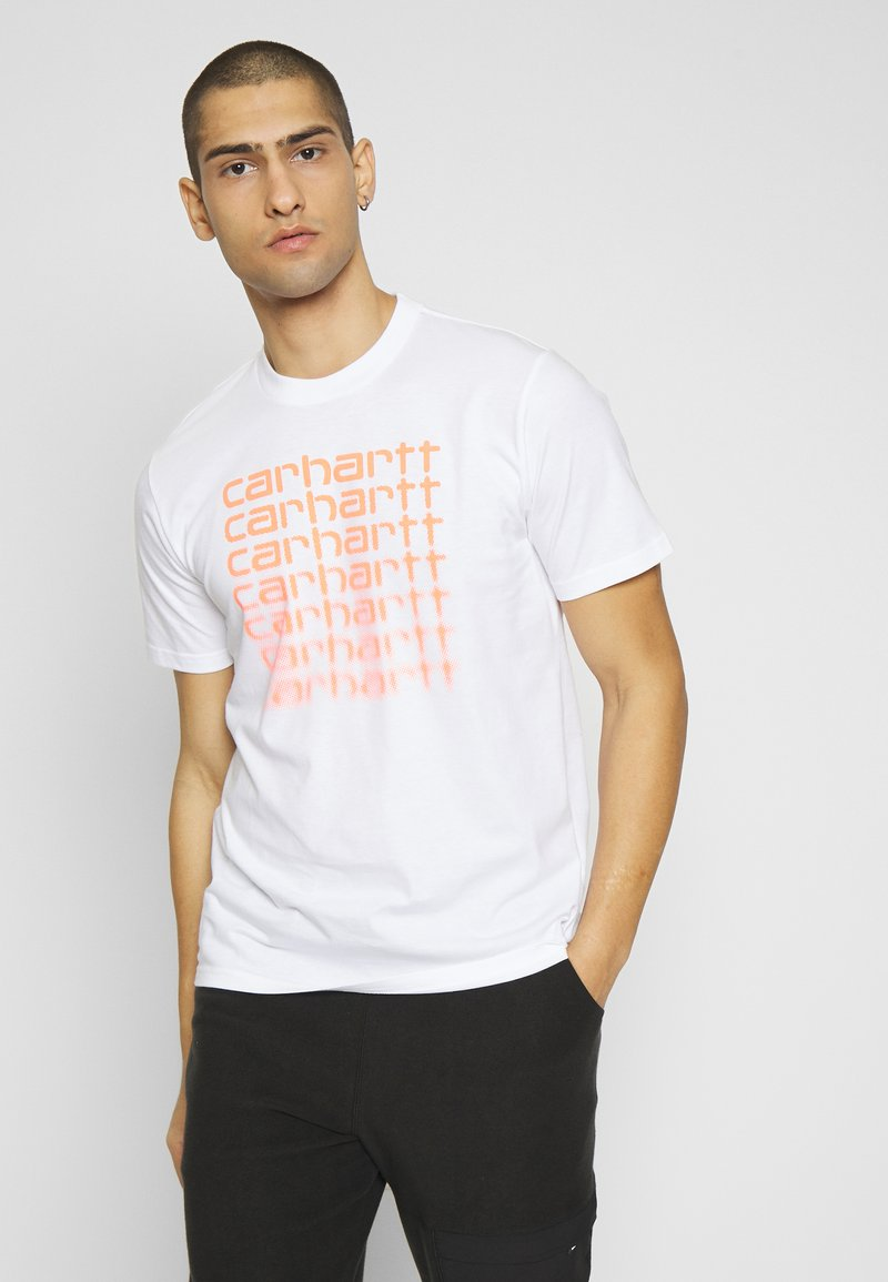 Carhartt WIP - FADING SCRIPT - Print T-shirt - white/pop coral