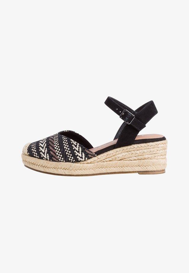 Sandały na koturnie - black comb
