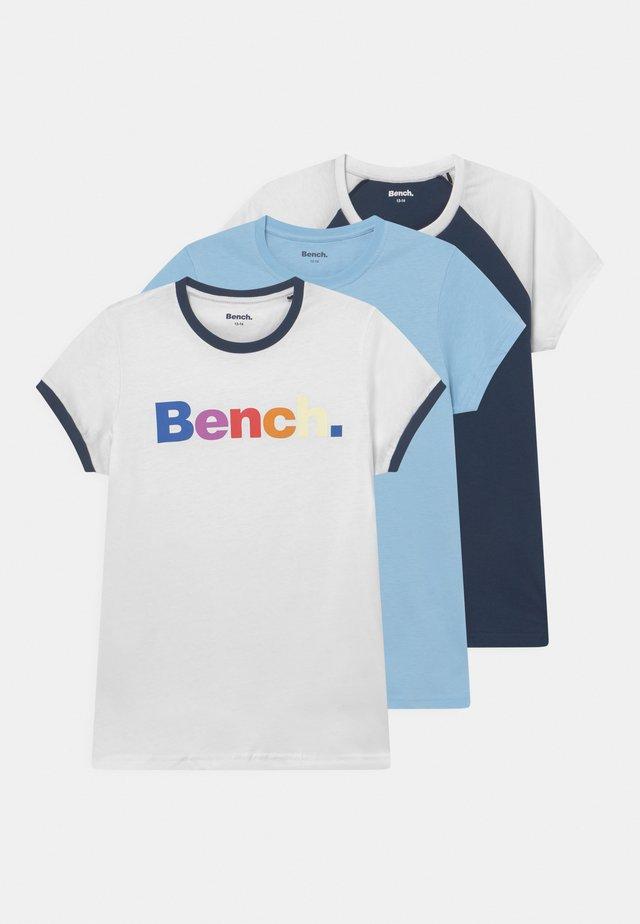 KIERA 3 PACK - T-shirt med print - white/sky/navy