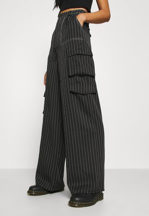 PINSTRIPE WIDE LEG TROUSER - Cargobroek - black