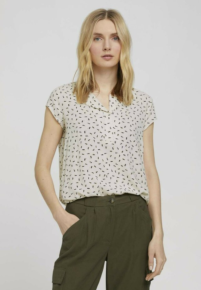 WITH FEMININE NECKLINE - Camicetta - beige geometrical design
