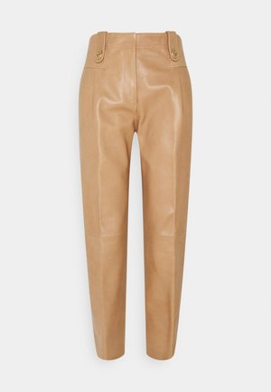 TROUSER - Leather trousers - light beige