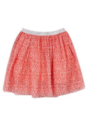 MESH-ROCK MIT GLITZERNDEM BUND - A-line skirt - coral