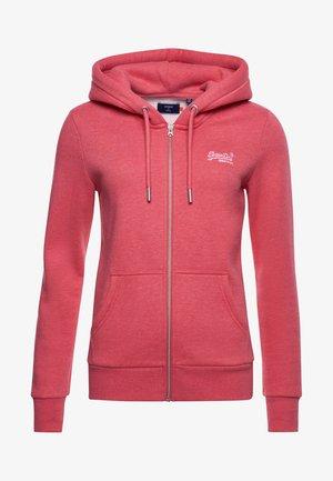 Zip-up hoodie - coral marl