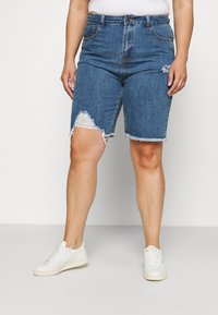 Simply Be - EXTREME RIPPED CITY  - Denim shorts - dark vintage - 0