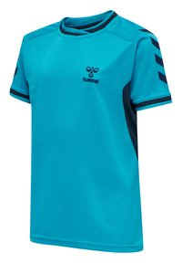 Hummel - HMLACTION POLY JERSEY S/S KIDS - Print T-shirt - atomic blue/black iris - 1