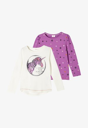 2 PACK - Long sleeved top - lilac aop/cream placed print