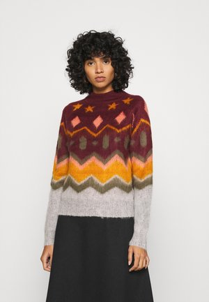 NMLUKE HIGHNECK - Strickpullover - zinfandel/multi colour