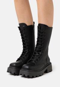 Topshop - KANA LACE UP BOOT - Bottes à lacets - black - 0