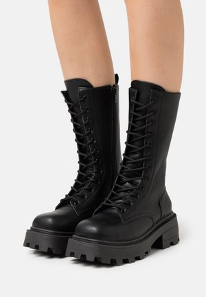KANA LACE UP BOOT - Veterlaarzen - black