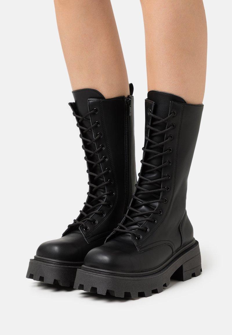 Topshop - KANA LACE UP BOOT - Bottes à lacets - black