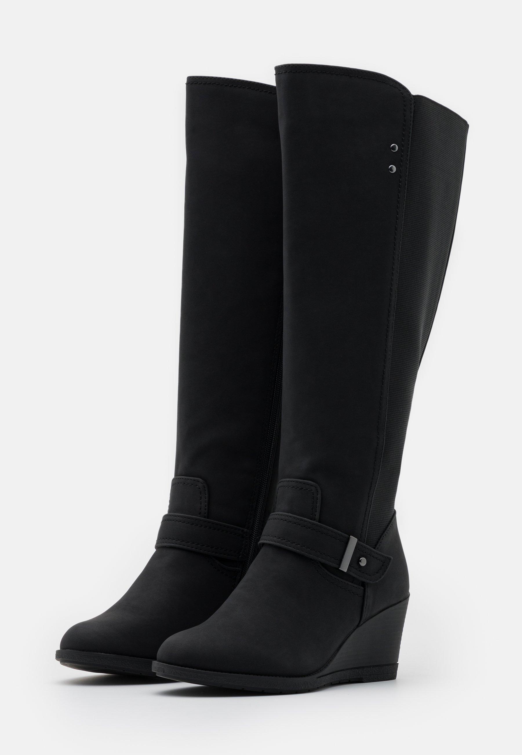 Simply Be WIDE FIT CICELY Keilstiefel black/schwarz