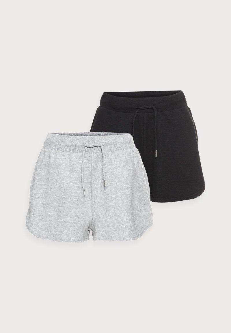 Even&Odd Petite - PETITE 2 PACK - Shorts - black/mottled light grey