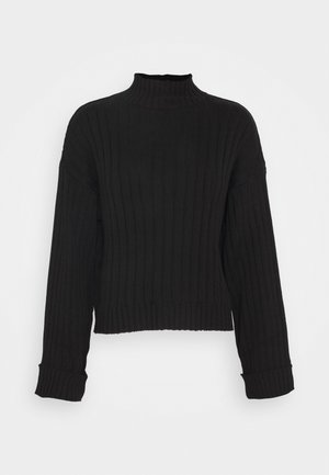CROPPED- WIDE RIB JUMPER - Strikkegenser - black