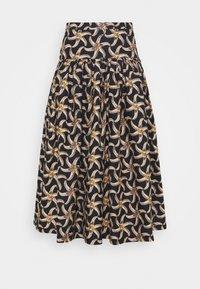 PRINTED VOLUMINOUS TIERED SKIRT - A-line skirt - brown/beige