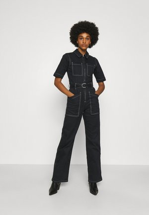 CONTRAST STITCH BOILERSUIT - Combinaison - black