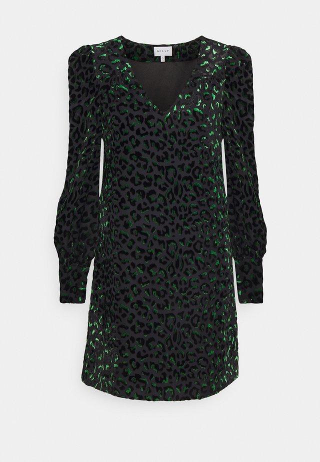 LYLAH LEOPARD DRESS - Korte jurk - black/green