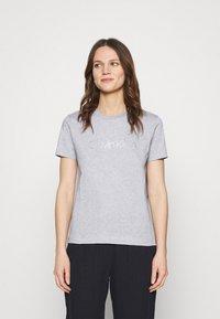 Calvin Klein - VALENTINES CREW NECK TEE - Printtipaita - light grey heather - 0