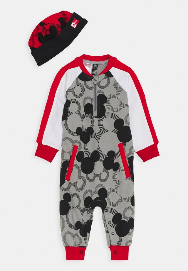 ONE SET UNISEX - Bonnet - solid grey/black/white/vivid red