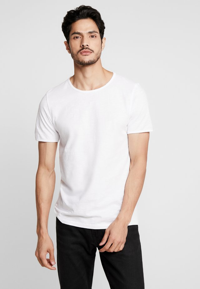 SLHMORGAN NECK TEE - T-Shirt basic - bright white