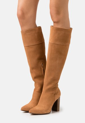 LEATHER - High heeled boots - cognac