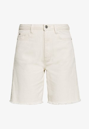 FRAYED LONG LINE - Denim shorts - sand