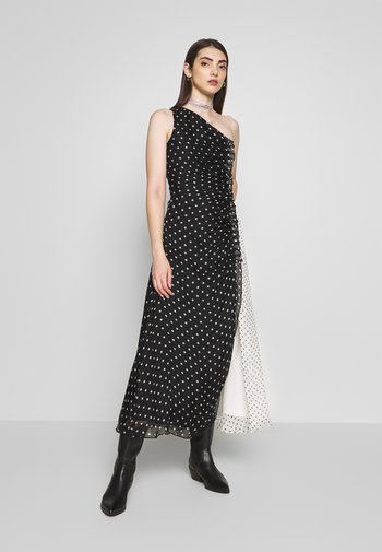ONE SHOULDER POLKA GATHERED DRESS