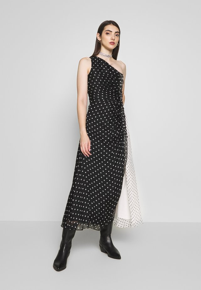 ONE SHOULDER POLKA GATHERED DRESS - Juhlamekko - black/white