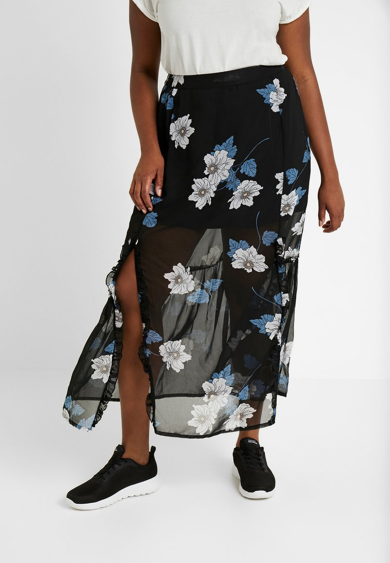 Simply Be - DOUBLE SPLIT GEORGETTE SKIRT - Maxi skirt - black