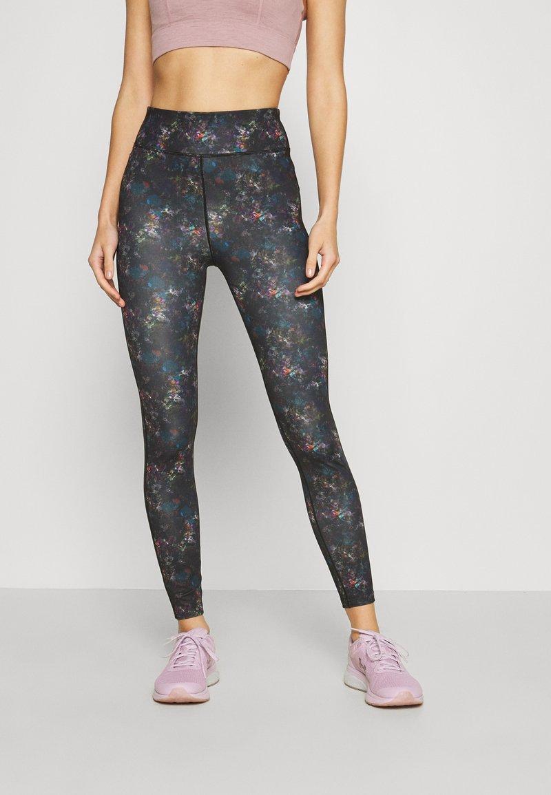 Even&Odd active - Leggings - black/rose/multicoloured