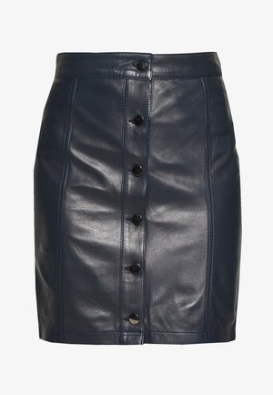 ANGIE SKIRT - Leather skirt - dark blue