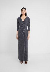 Lauren Ralph Lauren - MINI METALLIC EVENING GOWN - Vestido de fiesta - light navy/grey silver - 0