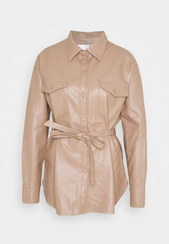 BELTED - Button-down blouse - nougat