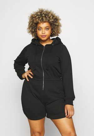 ZIP THROUGH HOODED - Overal - black