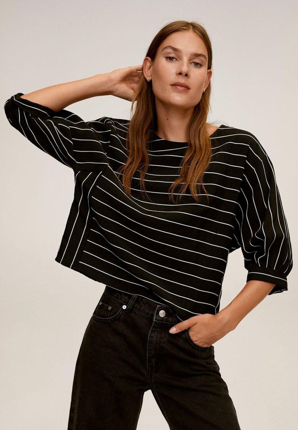 Mango Langærmede T-shirts - noir - Damer T-shirts & toppe V8uwk