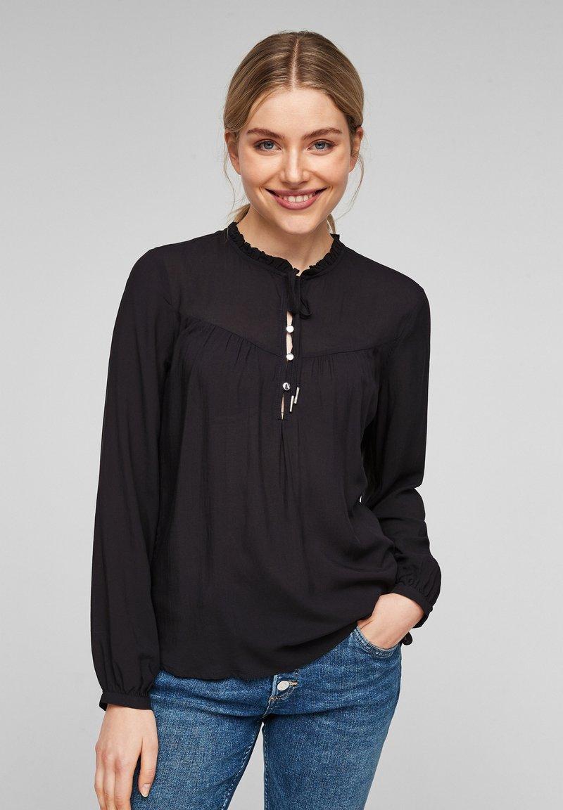 Q/S designed by - MIT TUNIKA-AUSSCHNITT - Long sleeved top - black