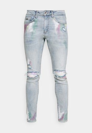SLIM FIT PAISLEY RIP UPDATE WITH PASTEL PAINT AND PAISLEY - Jean slim - ice blue wash
