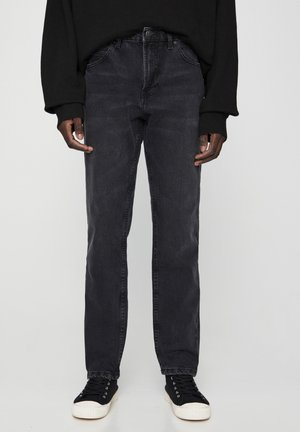 Jeansy Straight Leg - mottled dark grey