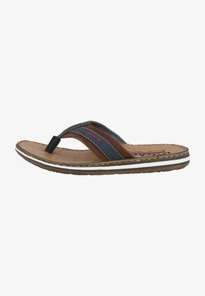 T-bar sandals - denim-brown