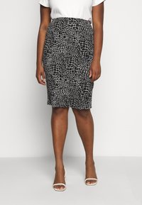 CAPSULE by Simply Be - MONO PRINT MIDI SKIRT - Pencil skirt - black/ivory - 0