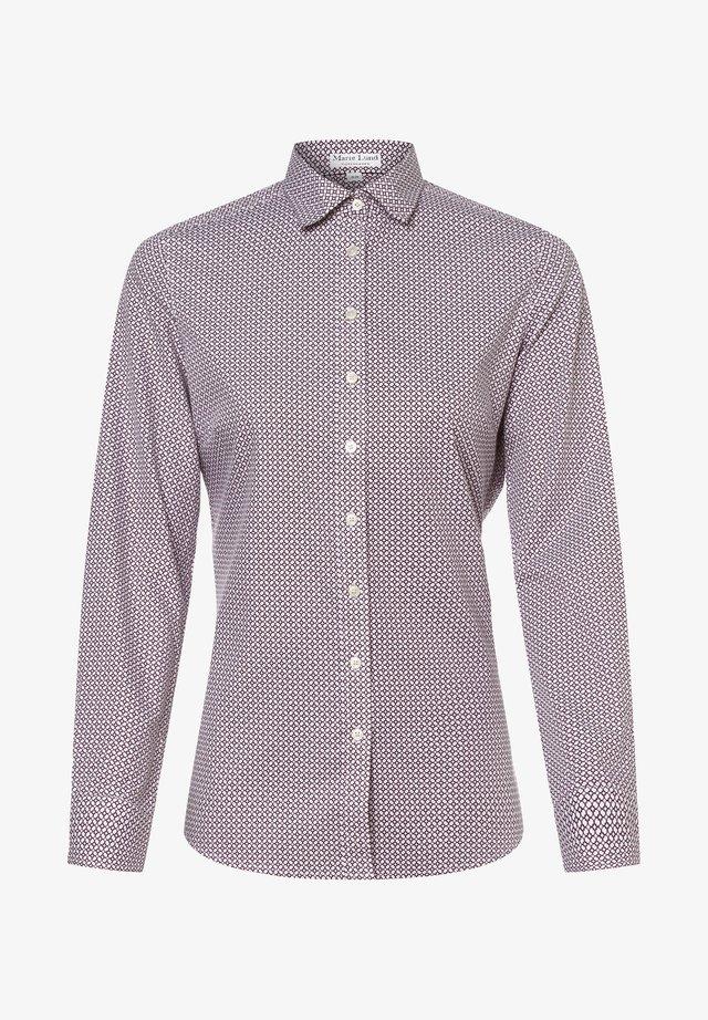 Button-down blouse - bordeaux weiß