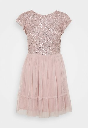 DELICATE SEQUIN RUFFLE SLEEVE MINI DRESS - Cocktailjurk - frosted pink