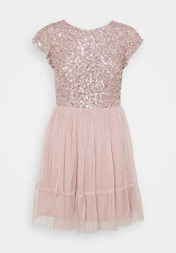 DELICATE SEQUIN RUFFLE SLEEVE MINI DRESS - Cocktailkjole - frosted pink