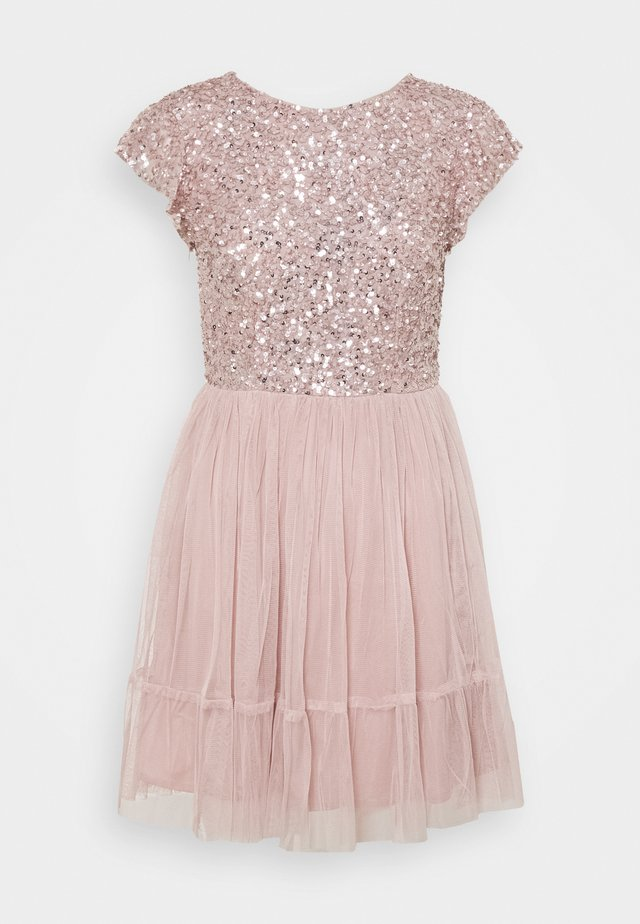 DELICATE SEQUIN RUFFLE SLEEVE MINI DRESS - Robe de soirée - frosted pink