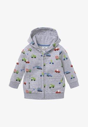 MIT TASCHE - Zip-up hoodie - vapor blue melange|gray